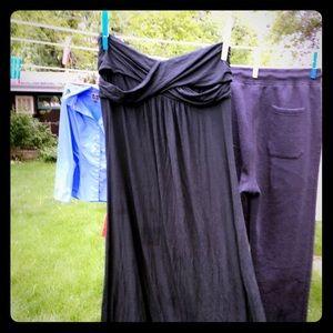 Long dark gray strapless dress empire